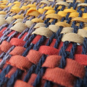 détails de tissage avec lanières de tissu